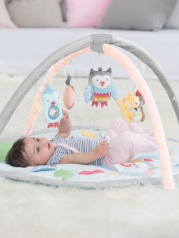 Our adorable Activity Gym features soft linen and patterned arches and includes a matching supportive Tummy Time pillow.  Five hanging toys attach to 13 easy-to-hang loops offering irresistible multi-sensory play for baby at every stage of development. A mirror and built-in sounds and textures on the mat add to the fun.