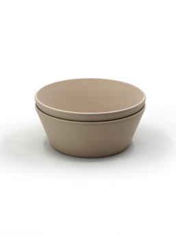 Mushie child polypropylene plastic bowls, 2-pack. The bowls can be heated in the microwave and washed in the dishwasher. Beautiful, easy and effortless dining.