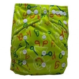 BABYLAND cloth diaper + microterry insert (yellow abc)