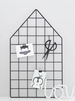 Laa Laa House Wire Memo Board (Black)