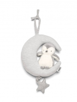 Mamas & Papas Penguin & Moon music box  A soft Penguin music box with a beautiful melody. The cute little Penguin on the top of the moon, below star which can be dragged to get a beautiful melody. The lightcolored music box is perfect for baby cribs, cradles, wagons, or strollers. A stunning melody lulls the baby to sleep. Play a song for a baby often, making it familiar and safe, and the baby calms down also in a strange place to sleep peacefully.