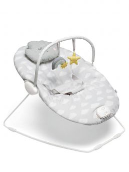 Mamas & Papas Capella Dream Upon a Cloud Baby Sitter with Vibration and Music. Sitter has a vibration function that calms down when the baby is troubled or suffering from stomachpains. In the sitter, there is also a bounch function by which the sitter responds to the child's own movements.