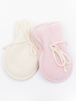 LANAcare super soft thumbless mittens keep tiny baby hands warm and cozy in double layer merino wool.