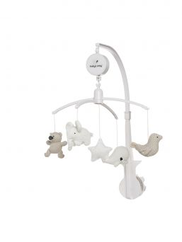 Beautiful and light-colored Baby's Only mobile for baby´s crib. Mobile plays a soothing melody and is easy to attach to the baby's crib.