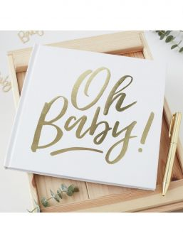 Cute gold foiled Oh baby! Guest book, perfect for guests to write messages in at any baby shower. Guest book contains 32 blank pages.