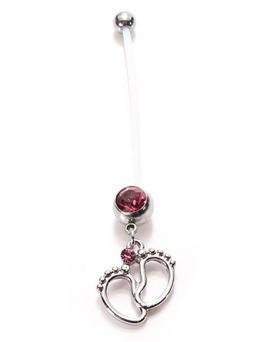 Navel jewel - Baby feet (open pink)