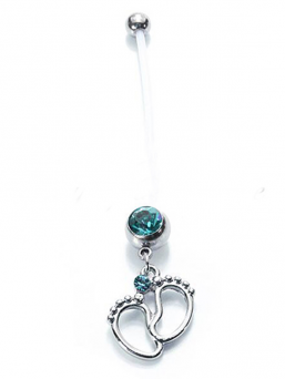 Navel jewel - Baby feet (open blue)