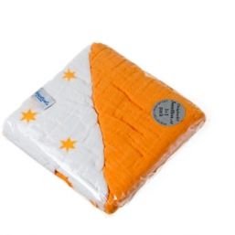 SNUTTEN Burp cloth 3+3pcs (orange-orange stars)