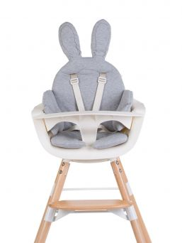 Adorable Childhome Highchair Seat Cushion with Bunny Ear. Perfect for a high chair and also suitable for sitters, prams and strollers. Seat belt holes in the seat cushion.