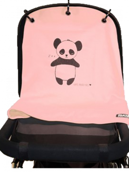 Kurtis Baby Peace pram curtain - panda (rose)
