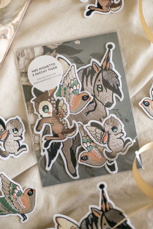 Beautiful Mrs Mighetto Flying Friends patches for kids clothes.