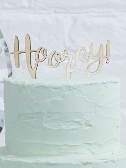 Top your yummy cake with this gorgeous 'Hooray' Wooden Cake Topper. Make your special occasion memorable and add something special to your cake with this unique wooden sign.
