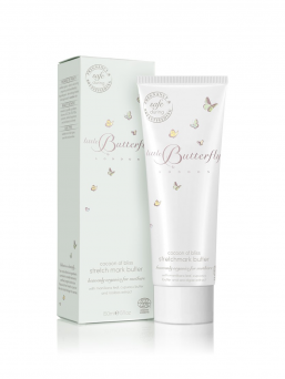 Little Butterfly London Cocoon of bliss stretch mark butter for mothers. Pamper and protect strained pregnancy skin, to deliver a firm, toned and youthful appearance.