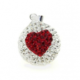 BOLA - crystal 18mm (red heart)