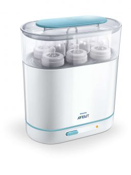 The new Philips AVENT electric steam sterilizer has been designed to make sterilizing as simple as possible