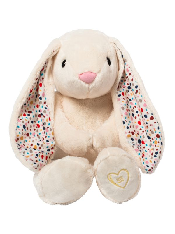 A soft sweetness, Whisbear a noise rabbit, The Humming Bunny helps a child fall asleep with the help of a pink noise. The humming Bunny has a CRYsensor that allows the device to detect the baby's crying, vocalization and movement and restart the noise sound.