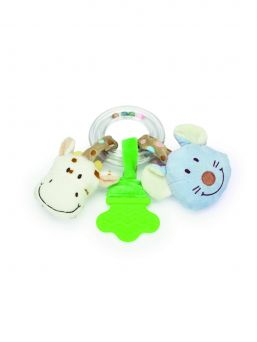 This great Diinglisar ring rattle comes with a teether and two animals attached. Animals makes a squeaky and a crunchy noise when squeezed. Not only that but the balls inside the clear ring also make a rattle sound.
