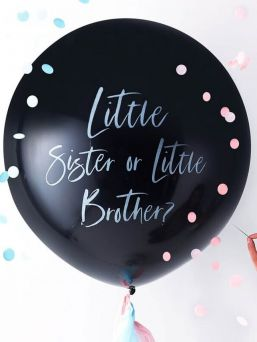 Little Sister Or Brother? gender reveal balloon kit, perfect way to reveal the sex of the little baby.