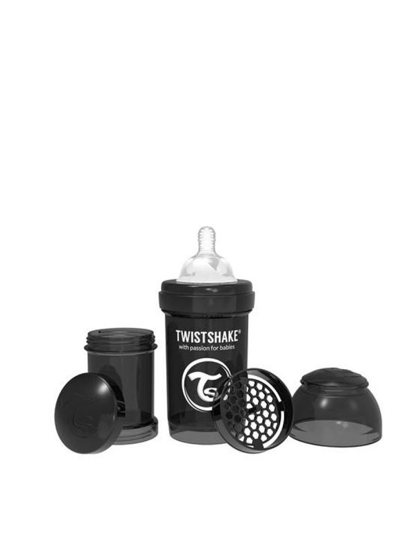 Twistshake's baby bottle is perfect to use in combination with regular breastfeeding. Every Twistshake contains a practical container as well as a mixing net.