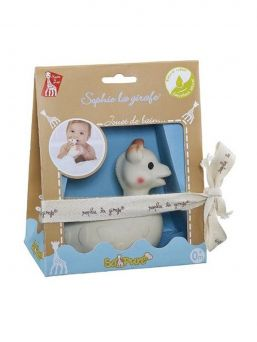The popular Sophie the giraffe -series adorable duck bath toy. You will find wonderful products from the same series for baby bathing and baby skin care after bathing.