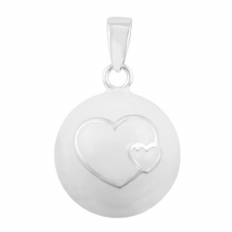 BOLA - white double heart (silver)