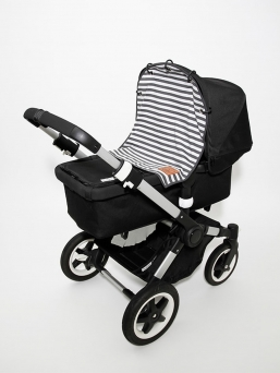 Baby Wallaby Pram Curtain (black and grey)