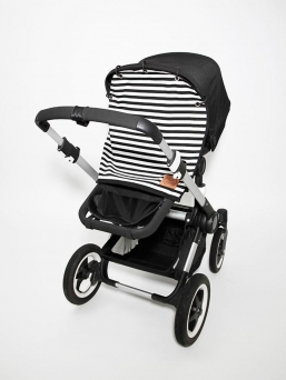 Baby Wallaby Pram Curtain (black and white)