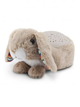 Zazu rabbit Ruby nightlight turns your child's room into a magical starry sky while playing soothing melodies.