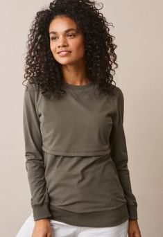 BOOB DESIGN B-Warmer Sweatshirt nursing shirt keeps the breasts warm both during bouncing winter frosts and on summer evenings. The shirt is made of double fabric at the breasts and the lower layer is warming fleece.