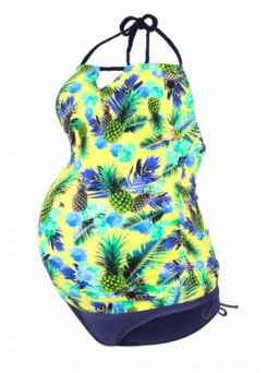 Maternity Bathing Suit tankini ALOHA, yellow | CACHE COEUR