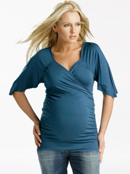 Maternity and nursing Cross over top (blue)