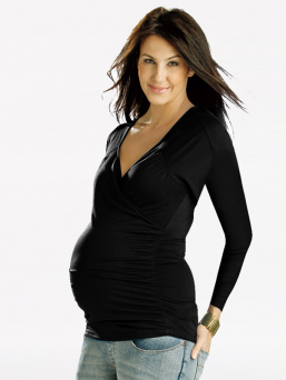 Maternity and Nursing Long Sleeve Cross over top (black)