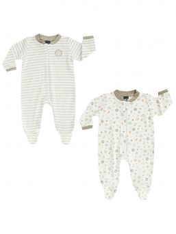 Light-colored Boley long-sleeved baby jumpsuit, 2-PACK. Perfect for night use.